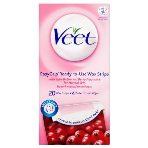 Veet ready to use leg wax strips for short hair shea butter berry